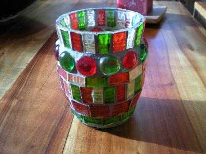 Photophore mosaïque pâte de verre rouge et vert