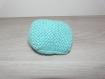 Chaussons bébé 0-3 mois - turquoise - tricotés main - cadeau naissance