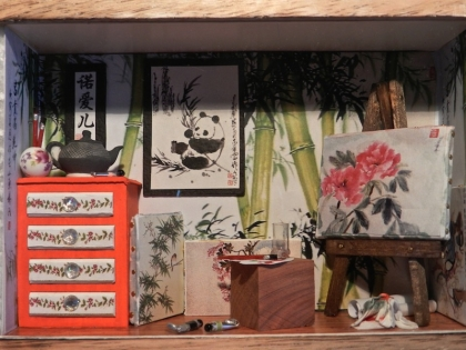 "Vitrine miniature : atelier de peinture ""inspiration chine"""