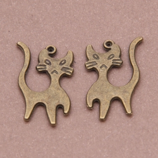 20 breloques 23x13mm bronze antique chaton k3895