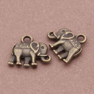 20 breloques 15mmx12mm alliage de bronze éléphant k4018