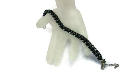 Bracelet wrap en ébène et argent :