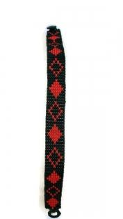 Bracelet homme en perles de rocailles noires et rouges