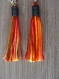 Boucles d'oreilles feuilles et pompon