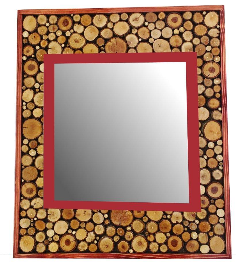 Grand Miroir Rectangulaire En Rondin De Bois Couleur Rouge Acajou 47 X 56 Cm