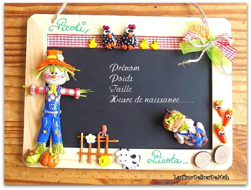 plaque de porte bebe fimo gar on personnalisable ardoise personnalis e d corative murale plaque. Black Bedroom Furniture Sets. Home Design Ideas
