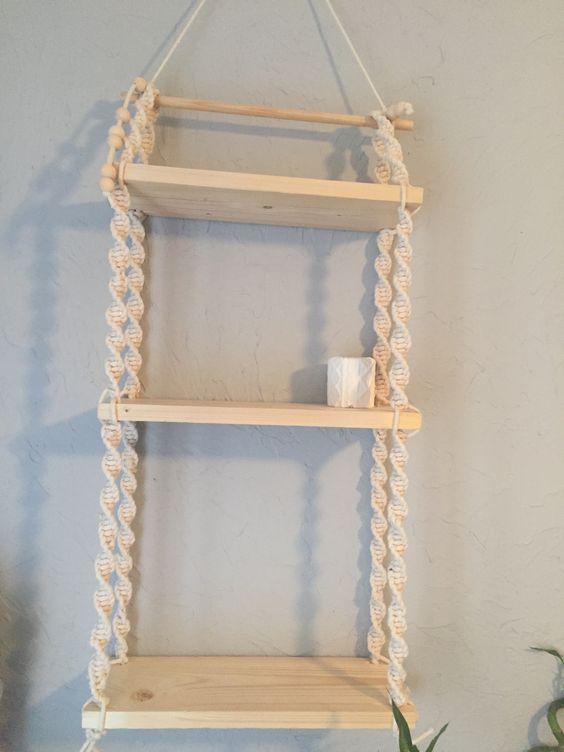 Étagère fait à la main en corde coton et bois naturel : maison-et-deco-accessoires par monika38141
