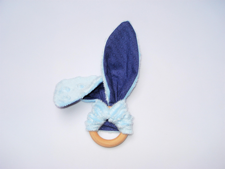 Hochet oreilles lapin Chatons bleu Anneau de dentition montessori pour b/éb/é