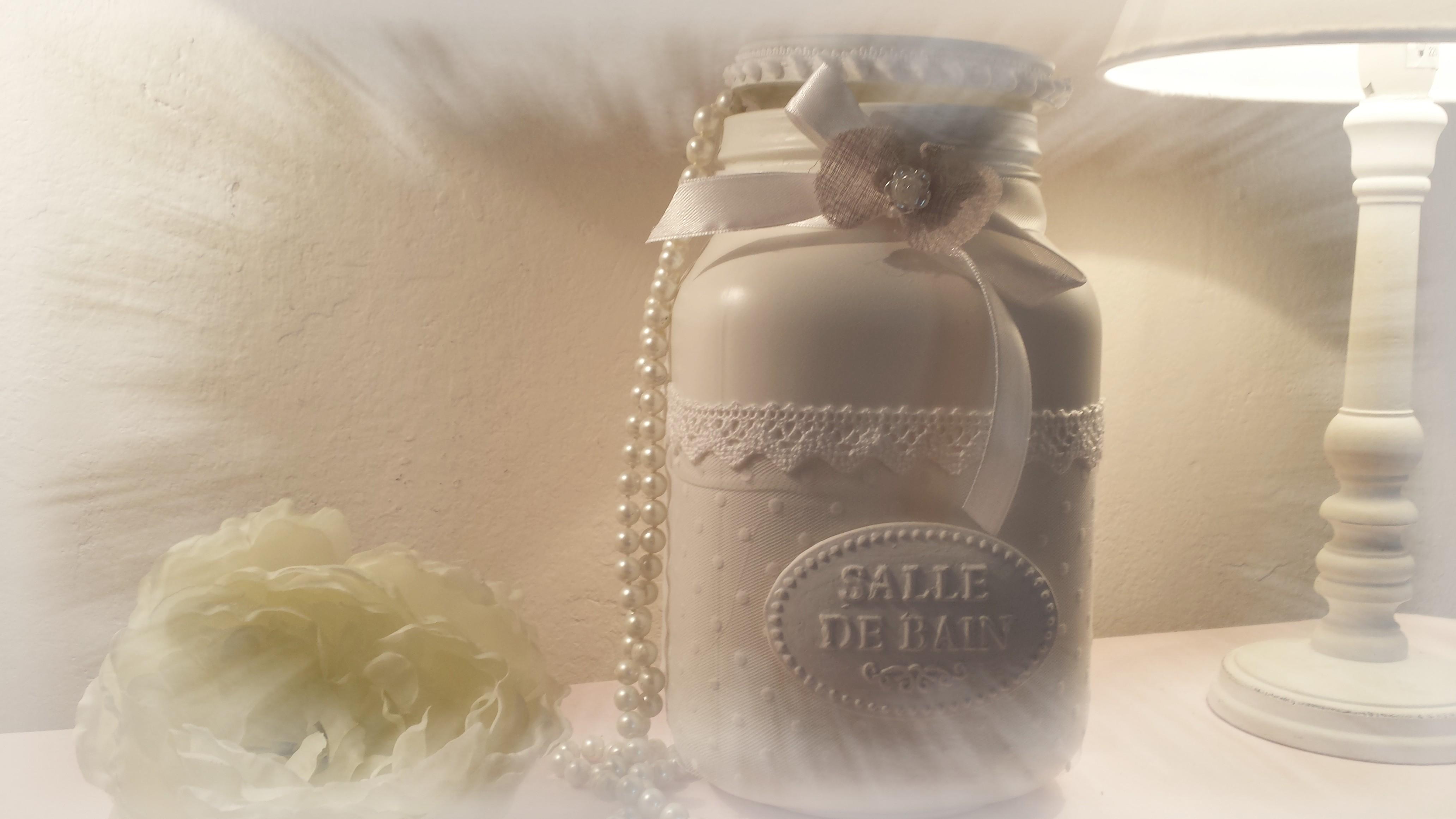 Pot A Coton Salle De Bain Shabby Chic Accessoires Maison Par Lespetitesfoliesdemilie