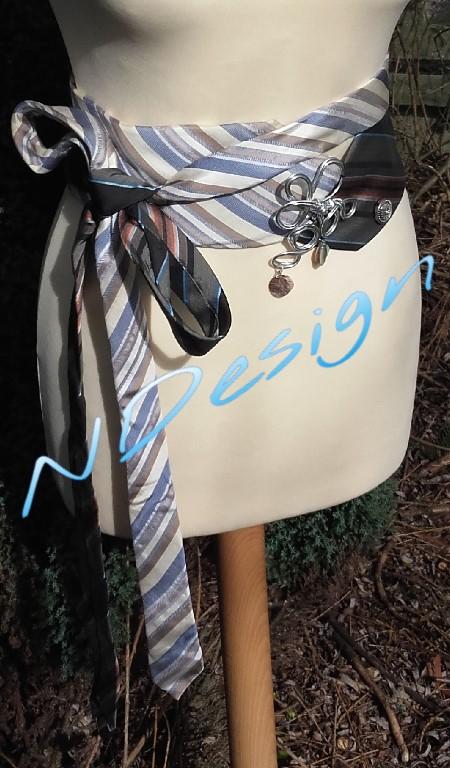 ceinture cravate bleu grise ray e accessoires femme par ndesign. Black Bedroom Furniture Sets. Home Design Ideas