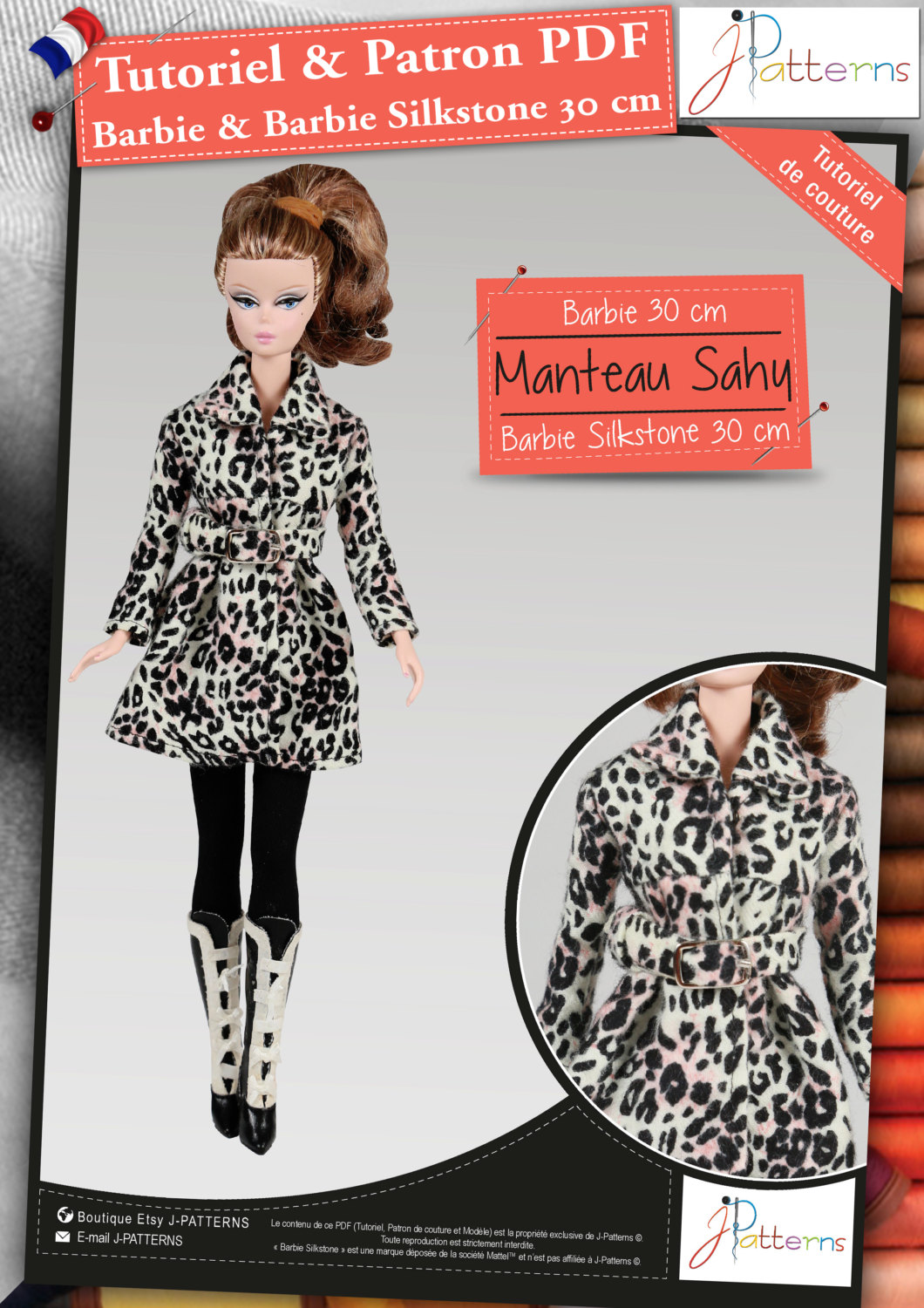 81fr Pdf Pattern Coat Barbie And Silkstone 12 30 Cm French