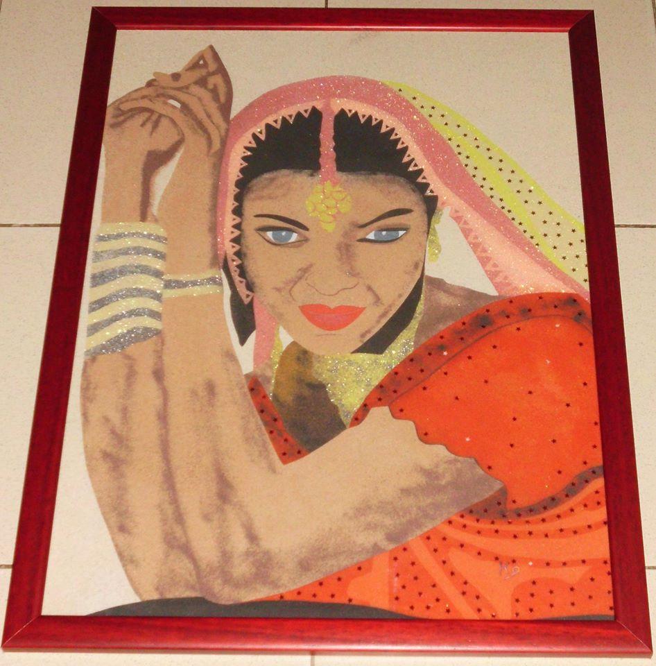 portrait de femme indienne tableau en sable tableaux peintures par passion66. Black Bedroom Furniture Sets. Home Design Ideas