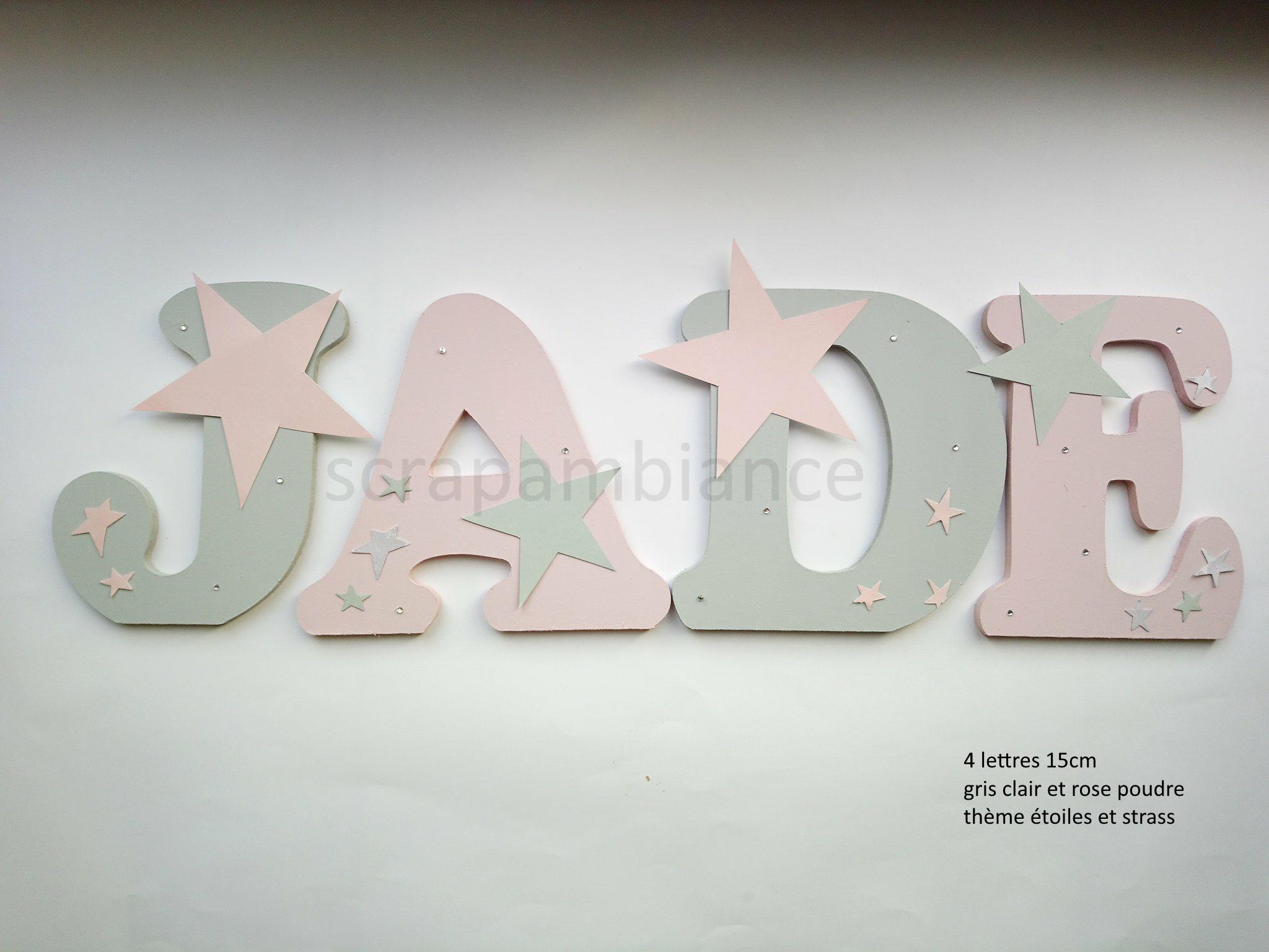 lettre prénom bois / lettre décoration chambre / lettre prénom bébé /  plaque de porte / lettre à coller / prénom à coller / lettre en bois /  prénom en