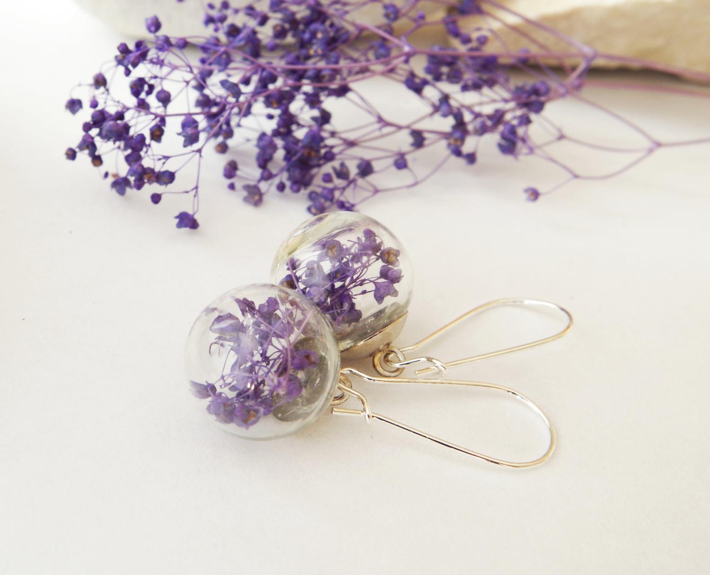 Purple Flower Earrings Purple Earrings Purple Flower Jewelry Real Flowers Earrings Terrarium Jewelry Botanical Jewelry Gift For Her Par Starjasmine33