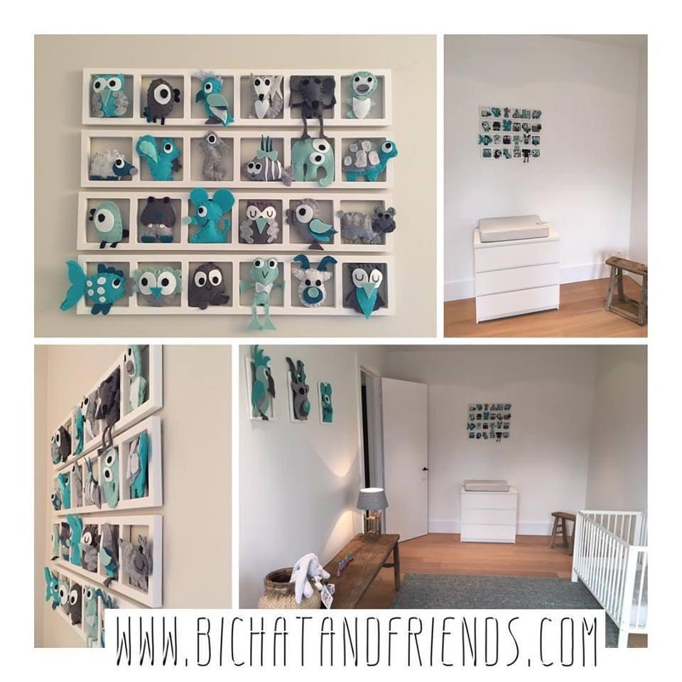 TOP décoration chambre de bébé , cadre de 6 figurines , animaux en  feutrine, tons beige vert d\'eau rouge