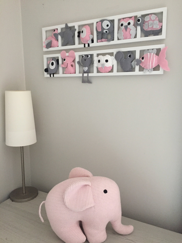 Chambre Gris Blanc Rose decoration murale chambre enfant , animaux en feutrine , tons blanc rose  pale gris, cadeau de naissance original