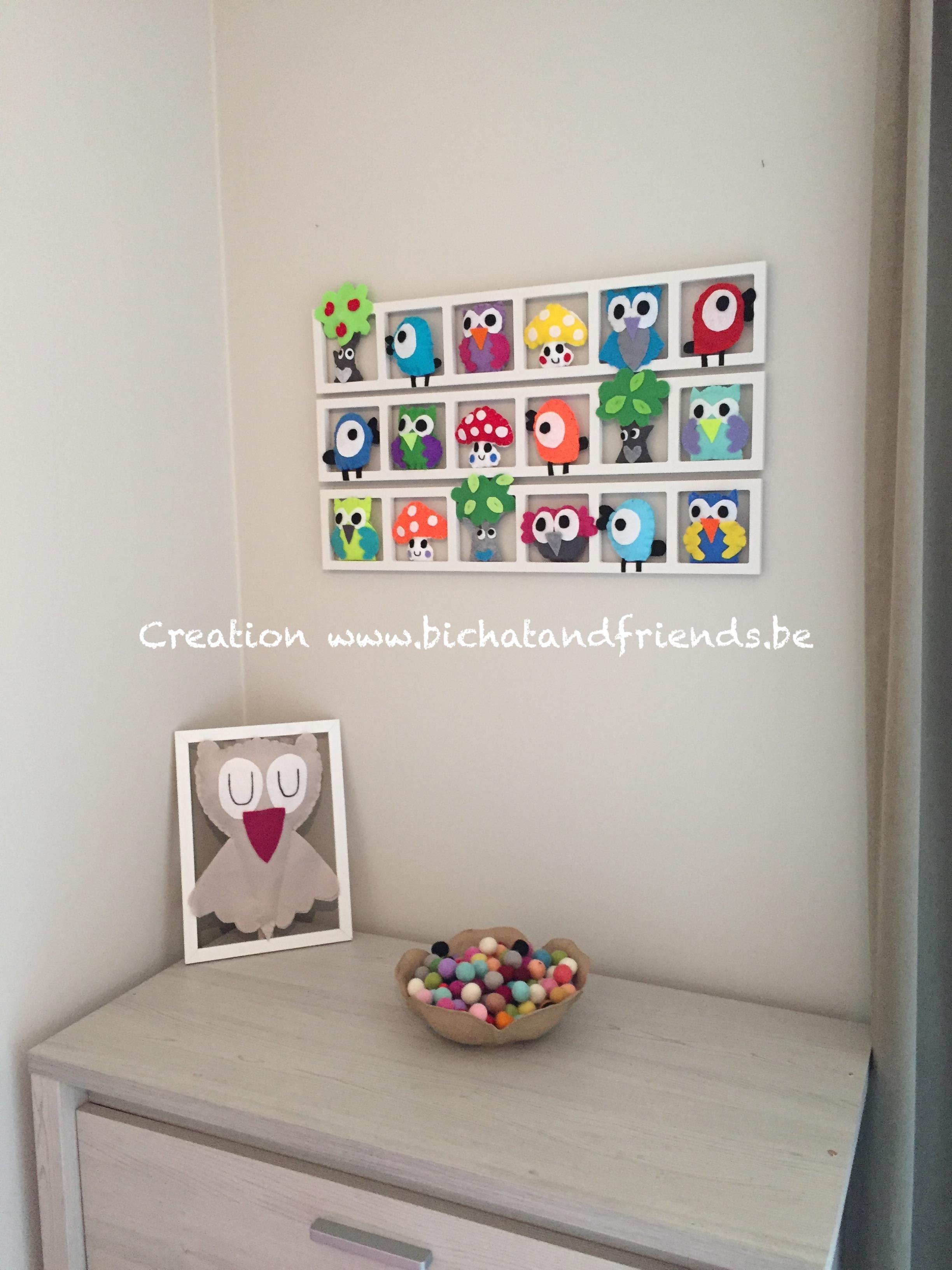 deco murale chambre b b unique et originale hiboux oiseaux colores accessoires enfant par. Black Bedroom Furniture Sets. Home Design Ideas