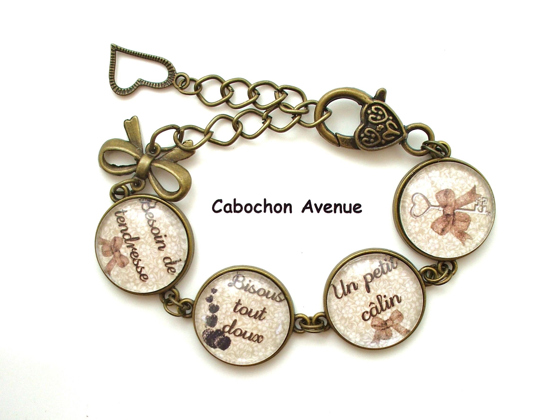 info pour a846b b3a10 S.6.276 Bijou MAMIE bracelet MAMIE BISOUS TOUT DOUX coeurs bijou fantaisie  bronze bracelet 4 cabochons verre cadeau mamie cadeau fête des grands-mères  ...