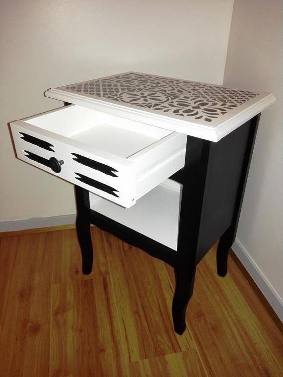 table de nuit chevet imitation carreaux de ciment. Black Bedroom Furniture Sets. Home Design Ideas