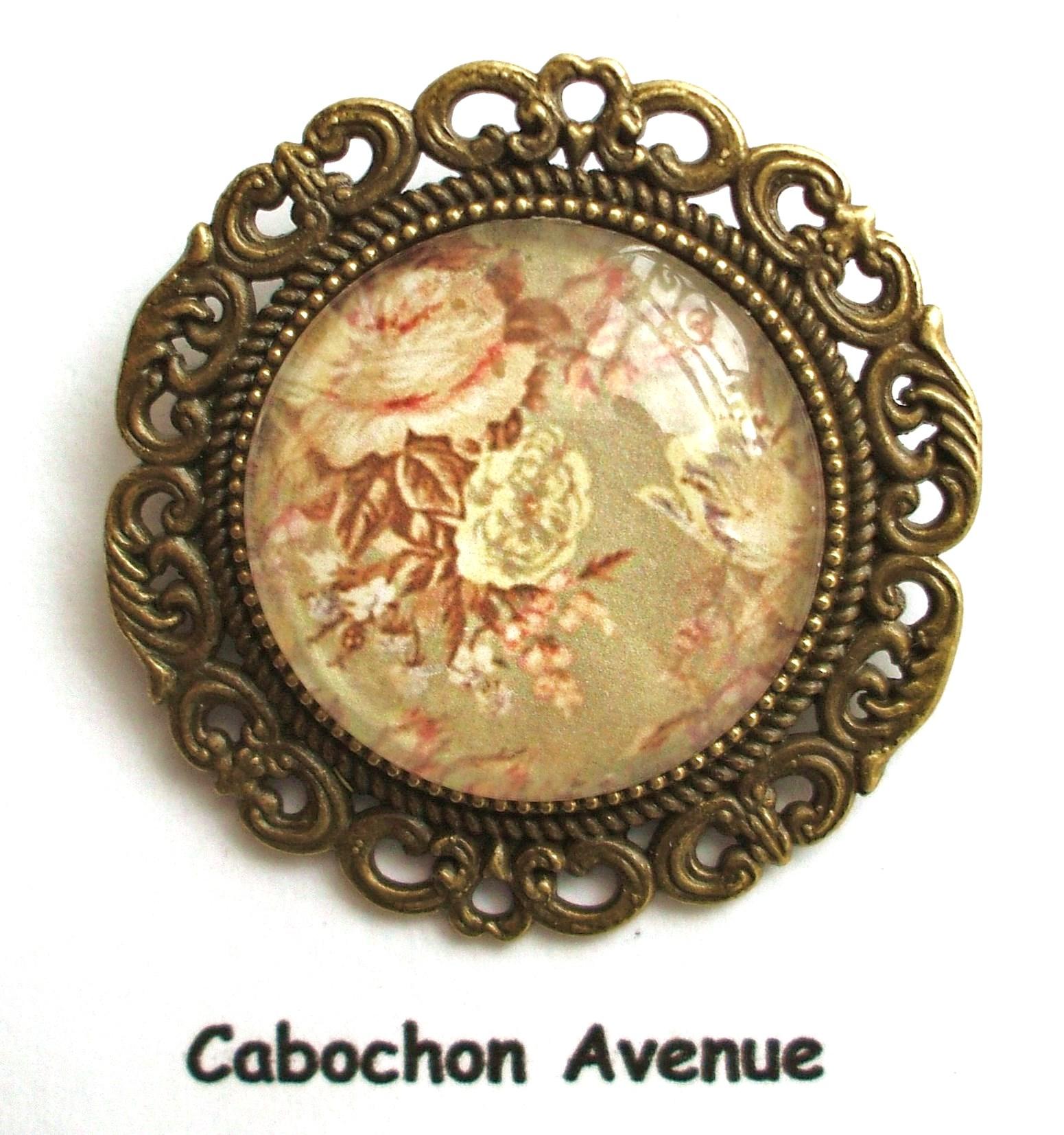 regarder Braderie découvrir les dernières tendances B3.1301 Bijou femme ROSES Broche épingle filigrane bijou fantaisie bronze  cabochon verre BOUQUET FLEURS ROSES ANCIENNES RéTRO VINTAGE (série 3)