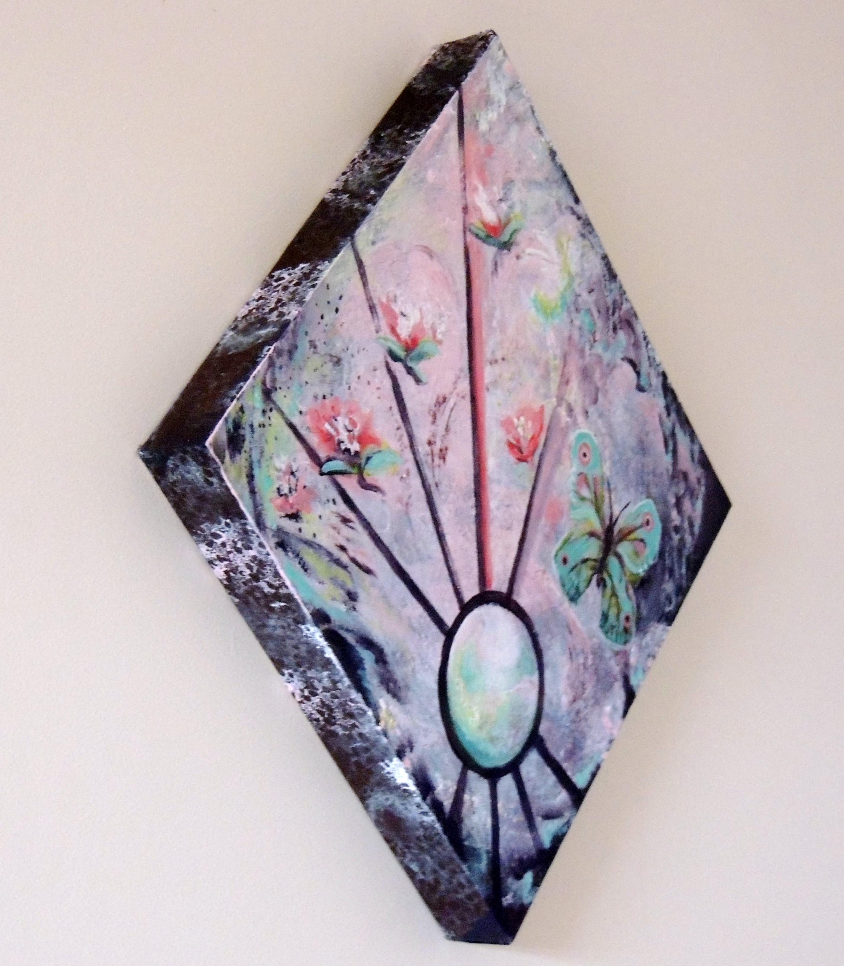 porte bijoux tableau mi abstrait mi figuratif clat floral rouge vert art peintures par. Black Bedroom Furniture Sets. Home Design Ideas