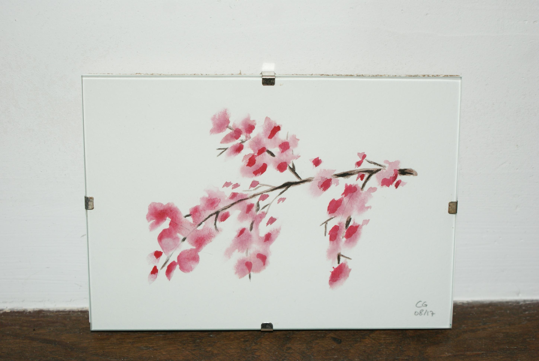 aquarelle originale branche fleurs cerisier japonais 10 5 cm 15 cm art peintures par aqua and co. Black Bedroom Furniture Sets. Home Design Ideas