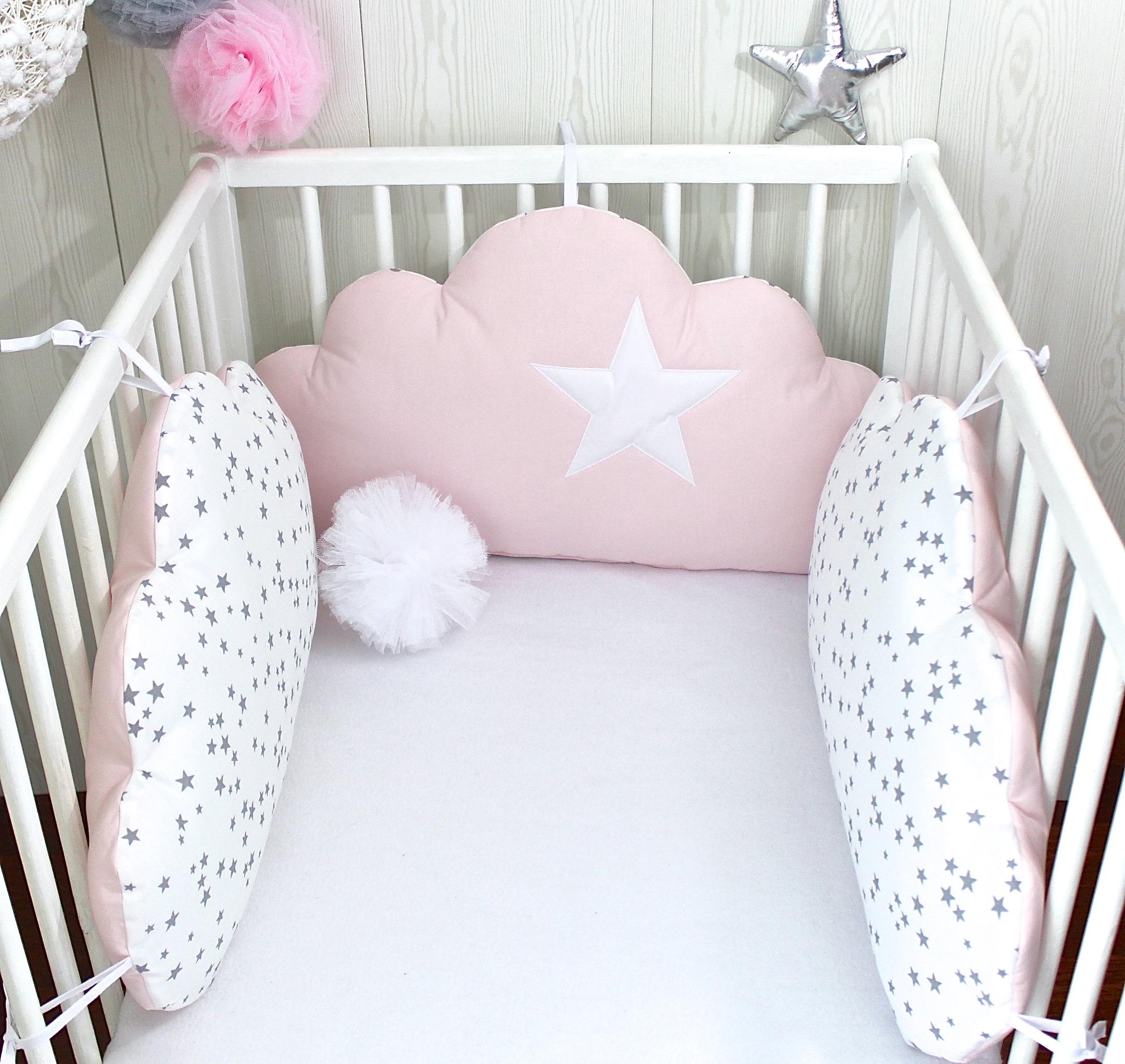 Tour de lit bébé, 60cm large, 3 coussins nuages, ton rose pale et ...