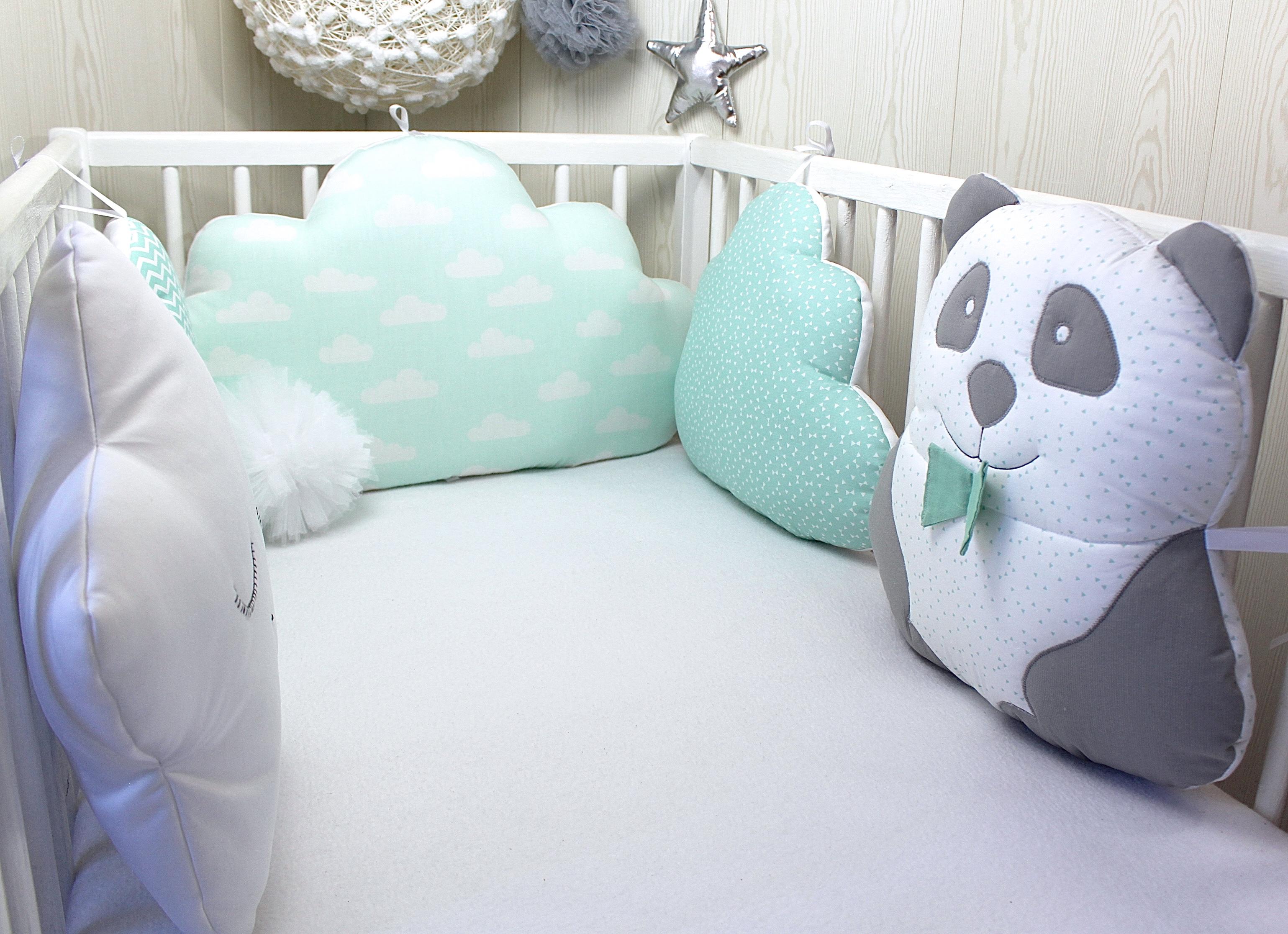 tour de lit b b en 60cm large panda nuage et toile. Black Bedroom Furniture Sets. Home Design Ideas