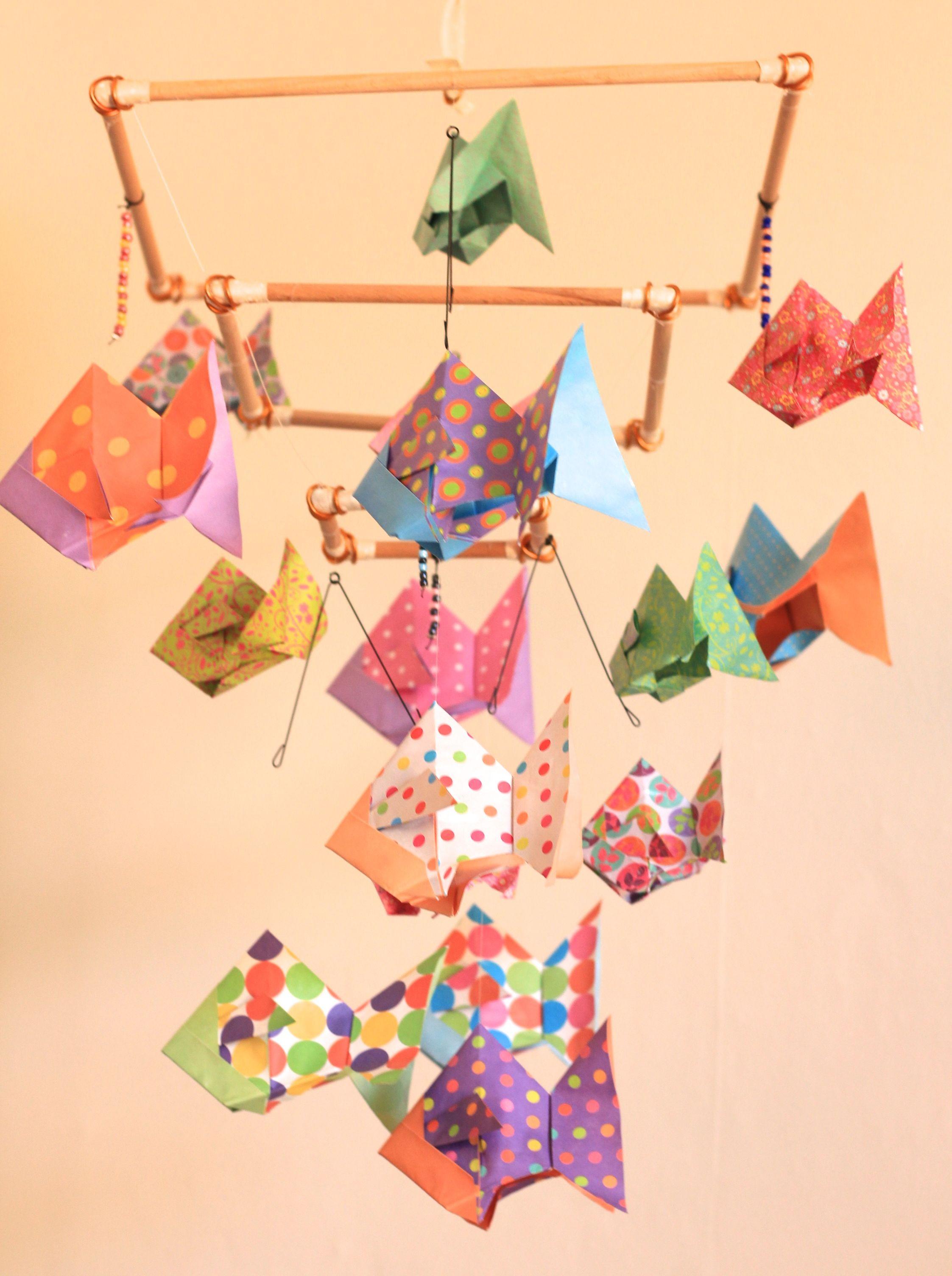 mobile bebe bois suspension chambre enfant b b en origami animaux poisson accessoires bebe. Black Bedroom Furniture Sets. Home Design Ideas
