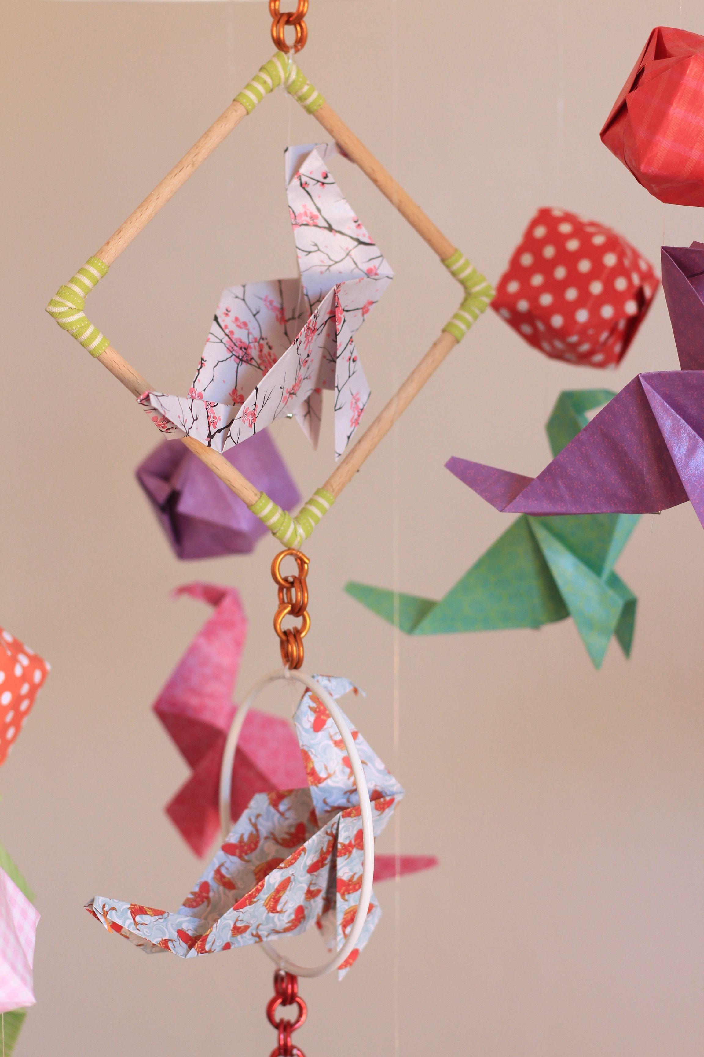 mobile bebe bois suspension chambre enfant b b en origami animaux otarie accessoires bebe par. Black Bedroom Furniture Sets. Home Design Ideas