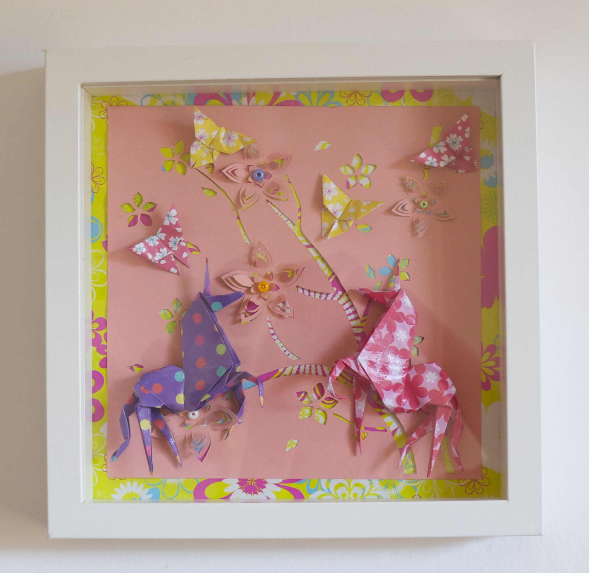 Cadre origami b b d coration chambre enfant animaux for Cadre chambre enfant