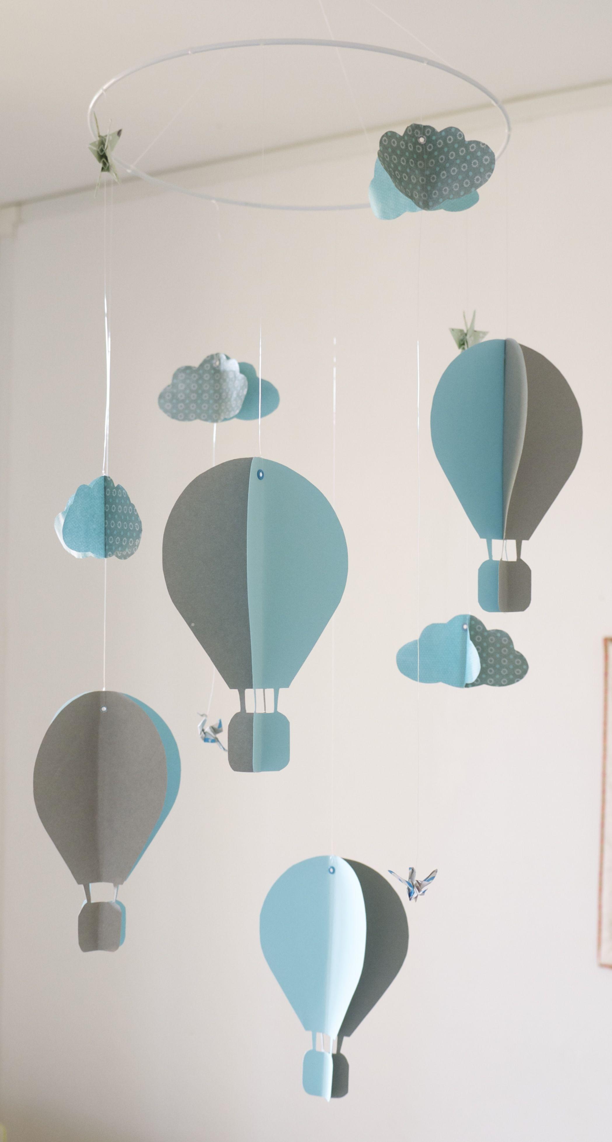 mobile b b origami suspension en spirale chambre enfant b b montgolfi re nuage oiseau cigogne. Black Bedroom Furniture Sets. Home Design Ideas