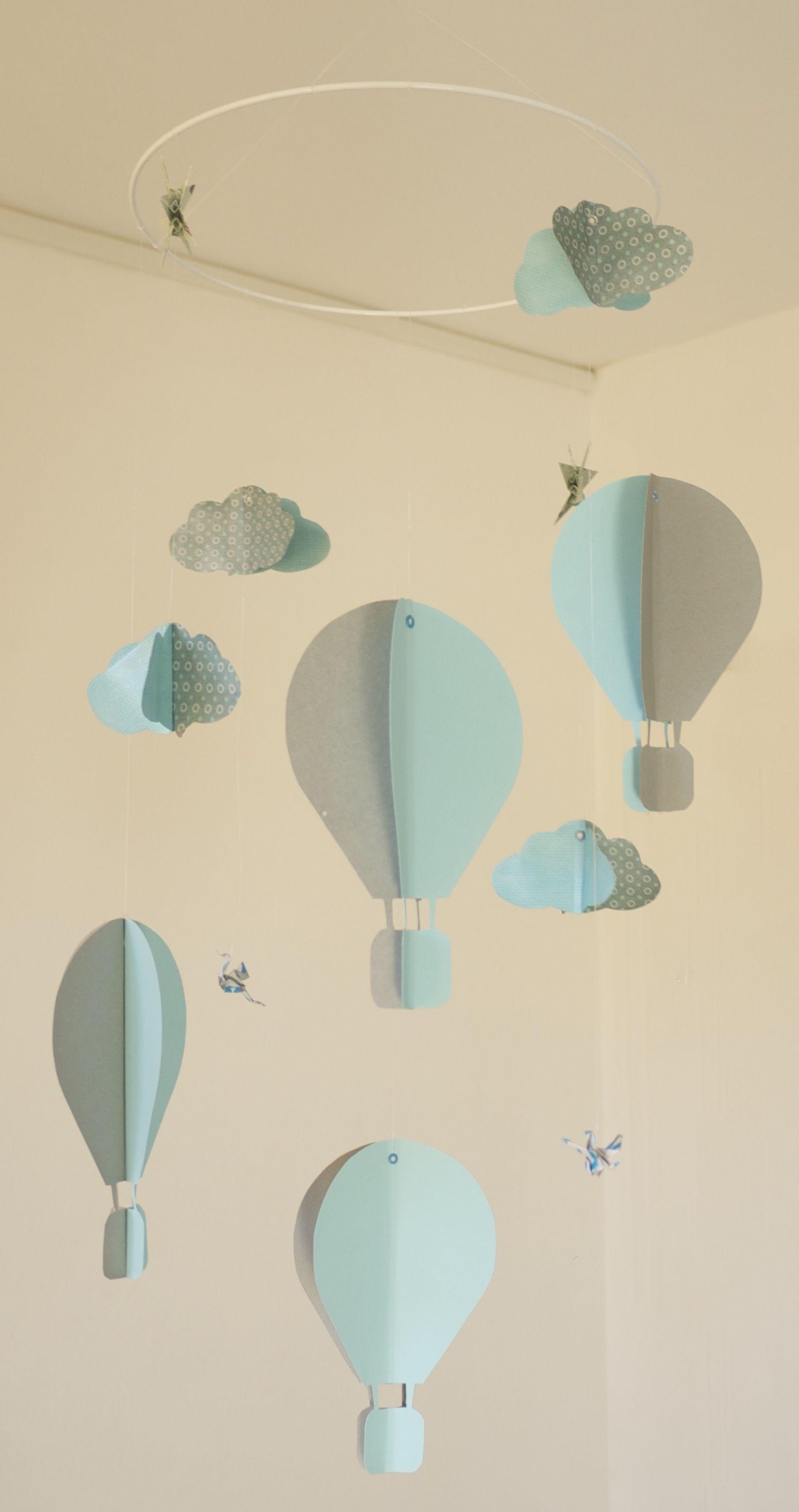 Mobile bébé origami suspension en spirale chambre enfant bébé montgolfière nuage oiseau cigogne ...