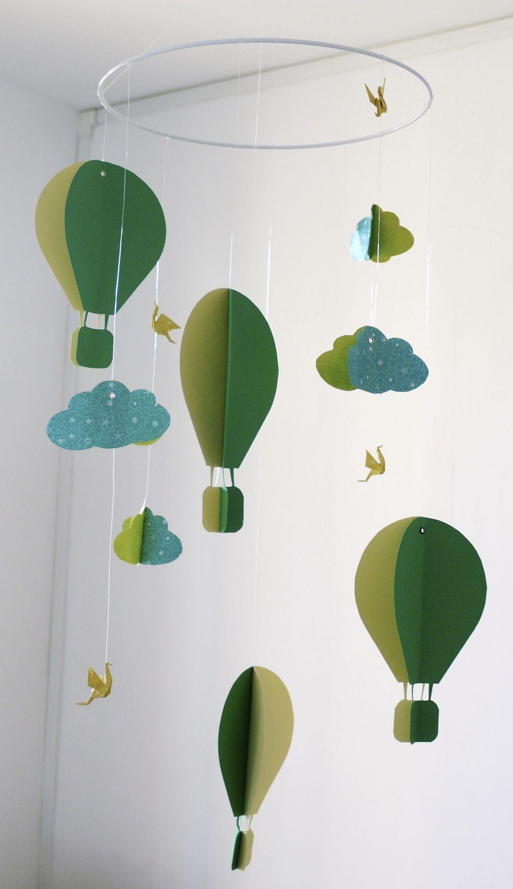 Mobile bébé origami papier suspension en spirale chambre bébé montgolfière oiseau nuage vert ...