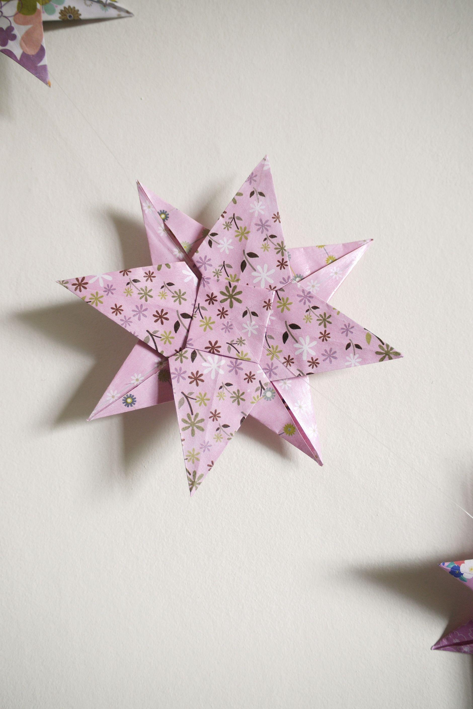 guirlande b b origami toile rose violet parme pour d coration chambre d 39 enfant accessoires. Black Bedroom Furniture Sets. Home Design Ideas