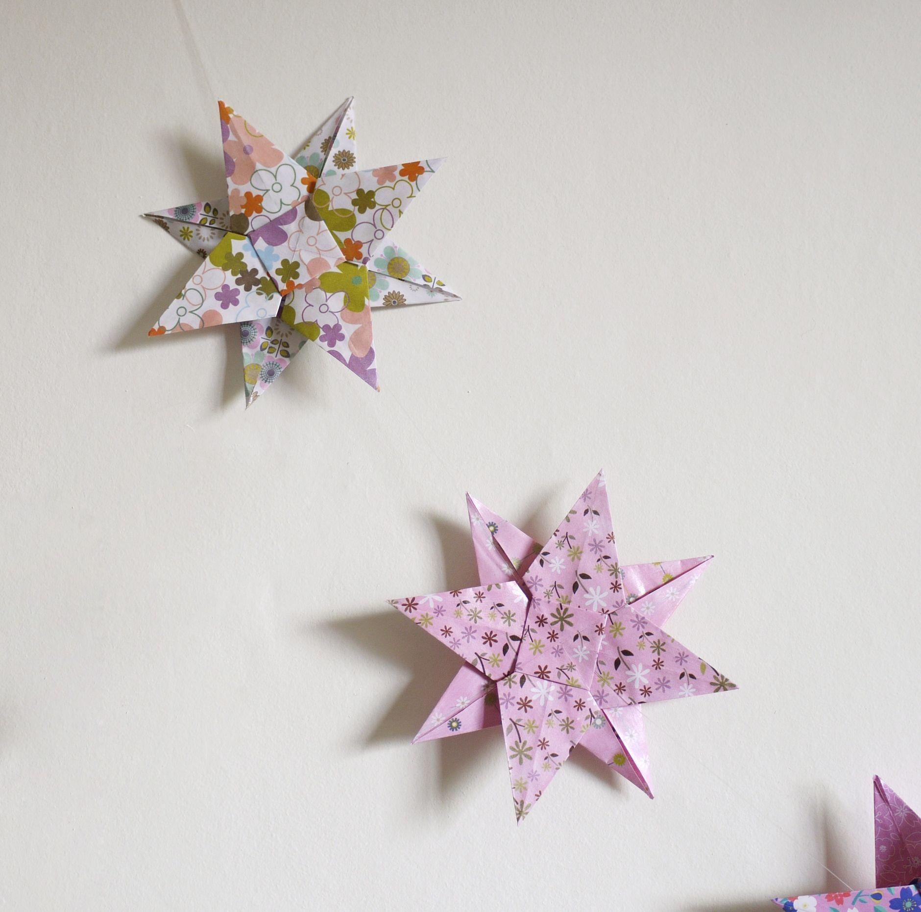guirlande b b origami toile rose violet parme pour. Black Bedroom Furniture Sets. Home Design Ideas