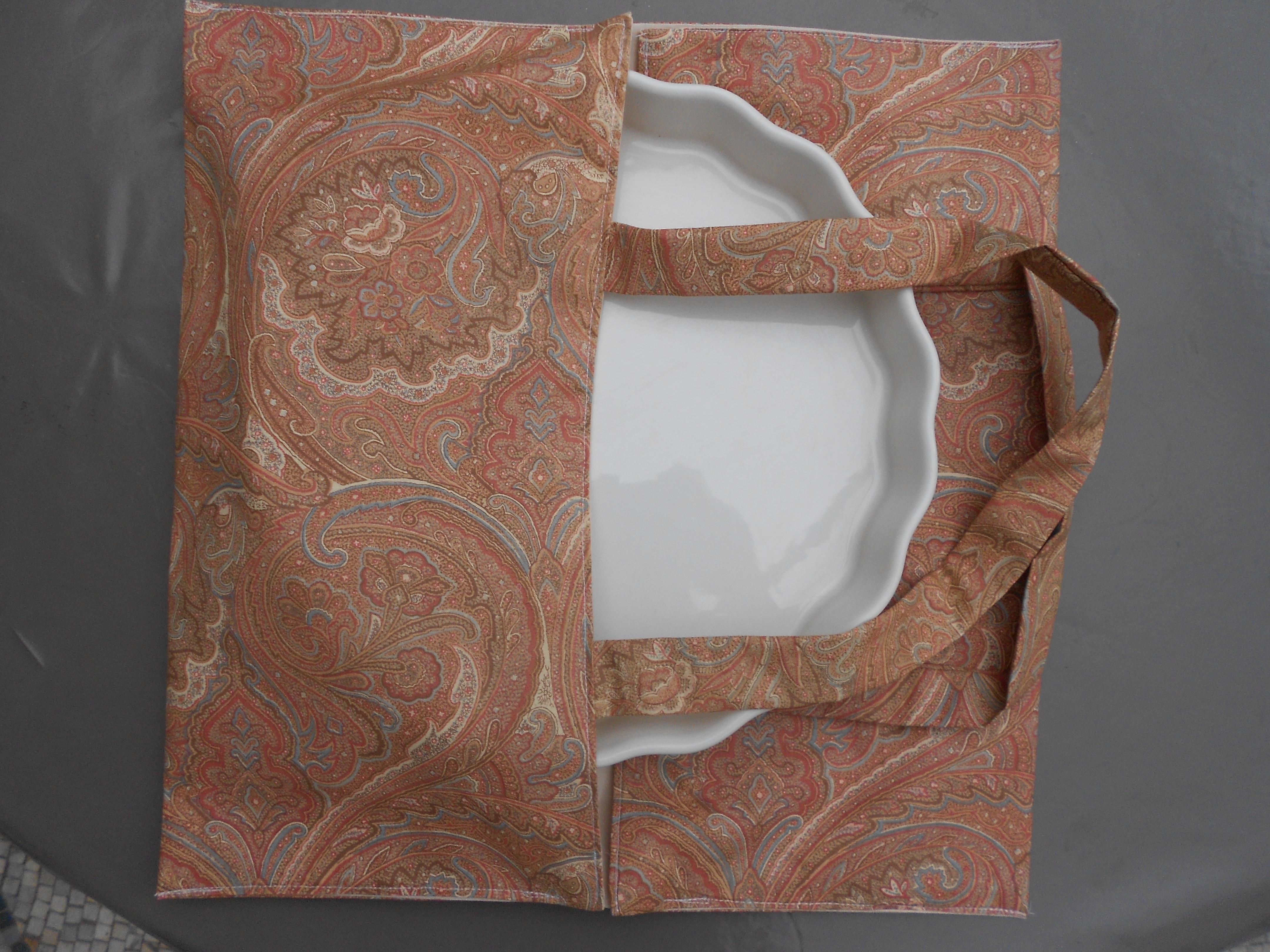 Sac porte plat tarte motifs cachemire maison et deco - Porte tarte en tissu ...