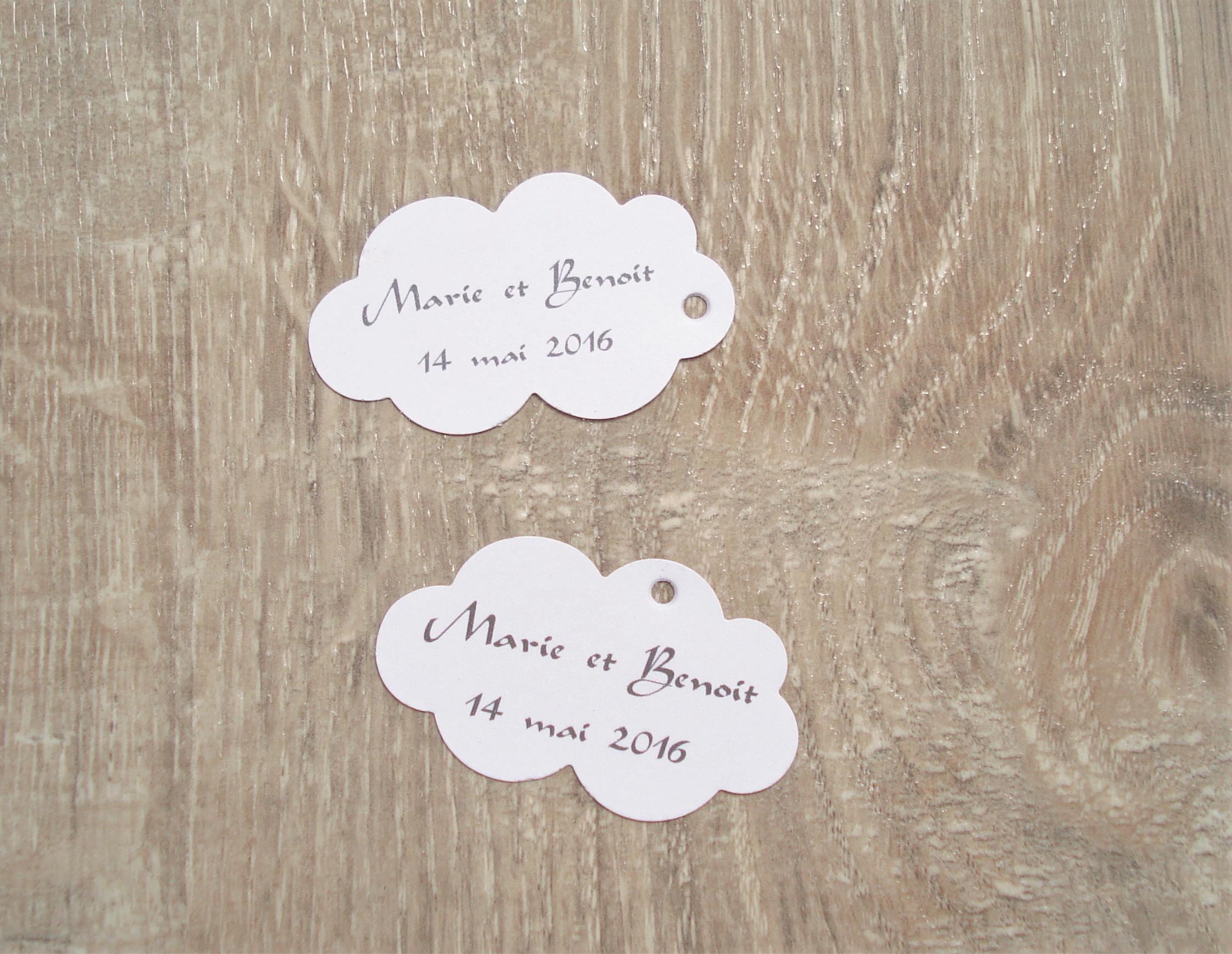 10 tiquettes nuage mariage bapt me anniversaire for Personnaliser ma propre maison