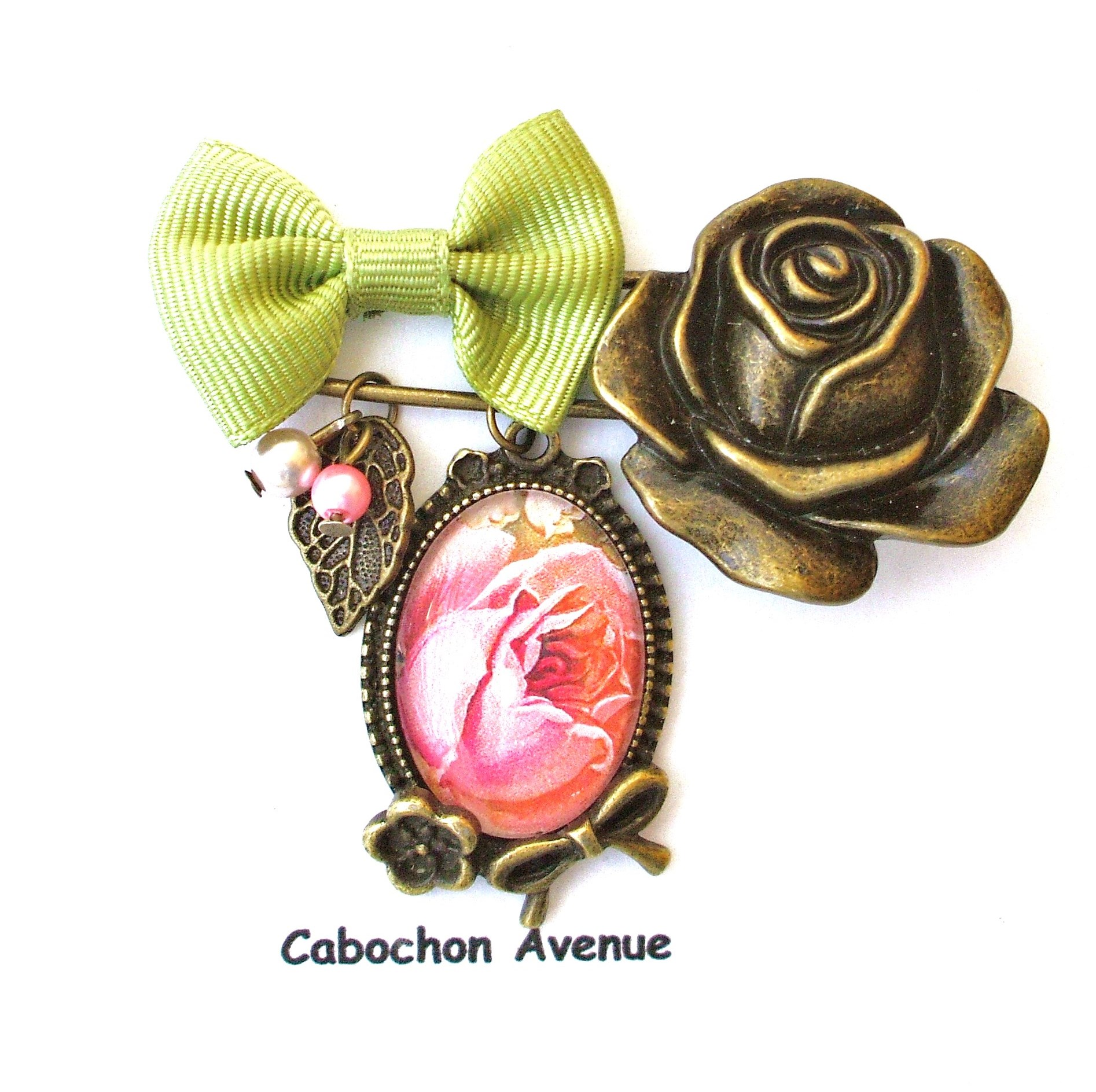 bijou fleur rose collier pendentif bijou fantaisie bronze cabochon verre fleur rose shabby. Black Bedroom Furniture Sets. Home Design Ideas