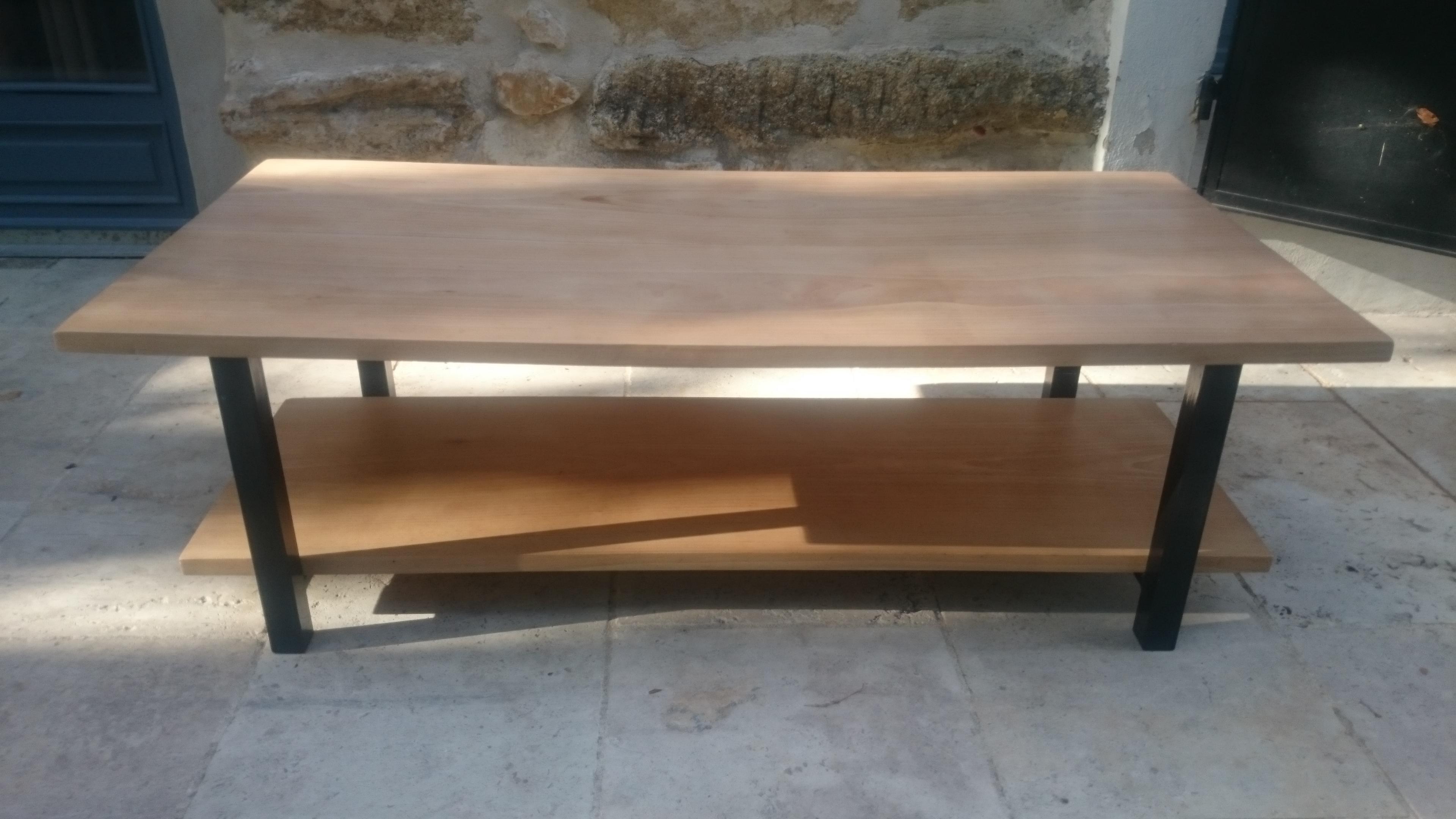 Table basse hetre massif et fer style industriel : meubles par ...