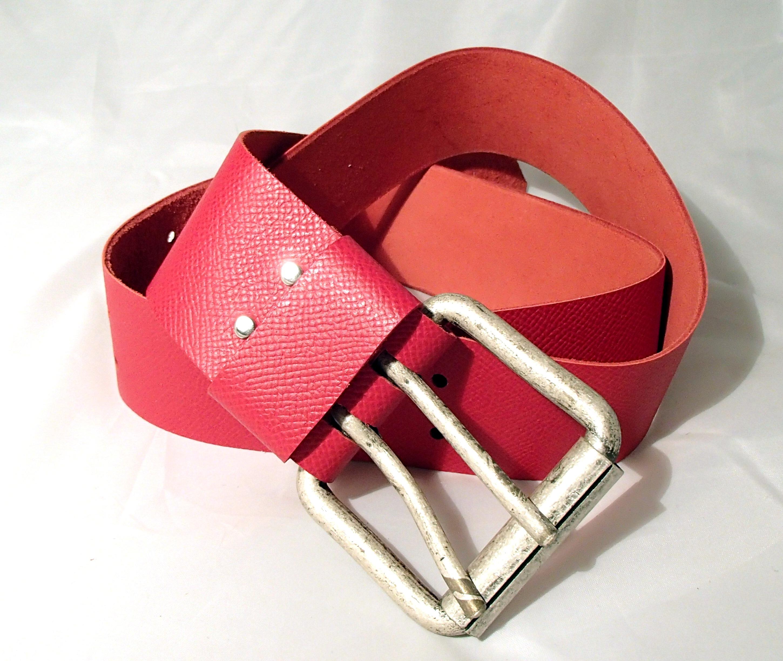 ceinture large en cuir rouge accessoires ceinture par creation cuir. Black Bedroom Furniture Sets. Home Design Ideas