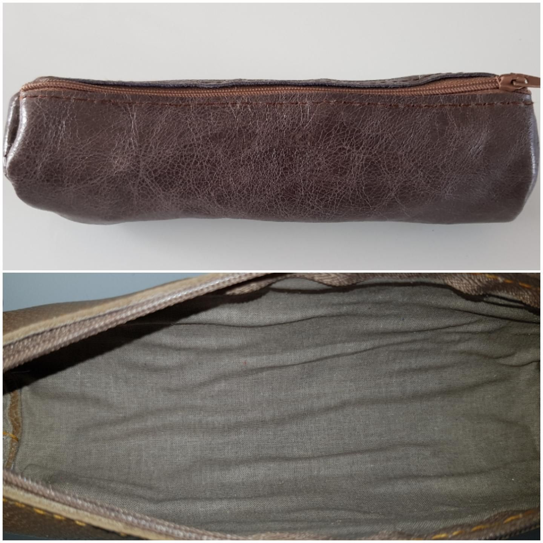 Trousse ronde en cuir de vache marron glac accessoires for Trousse couture cuir