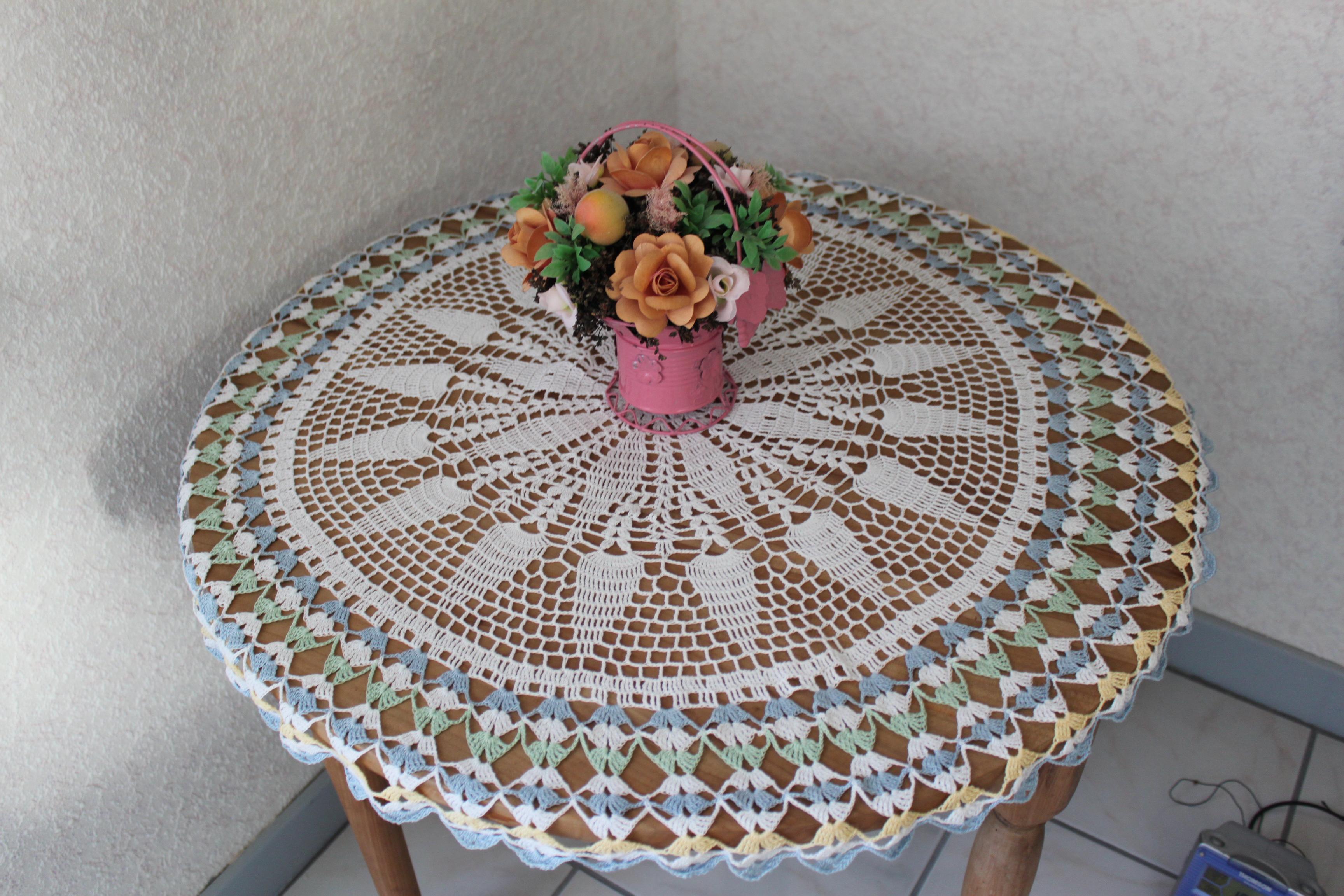 Grand Napperon Au Crochet à grand napperon de guéridon, centre de table ronde au crochet ou