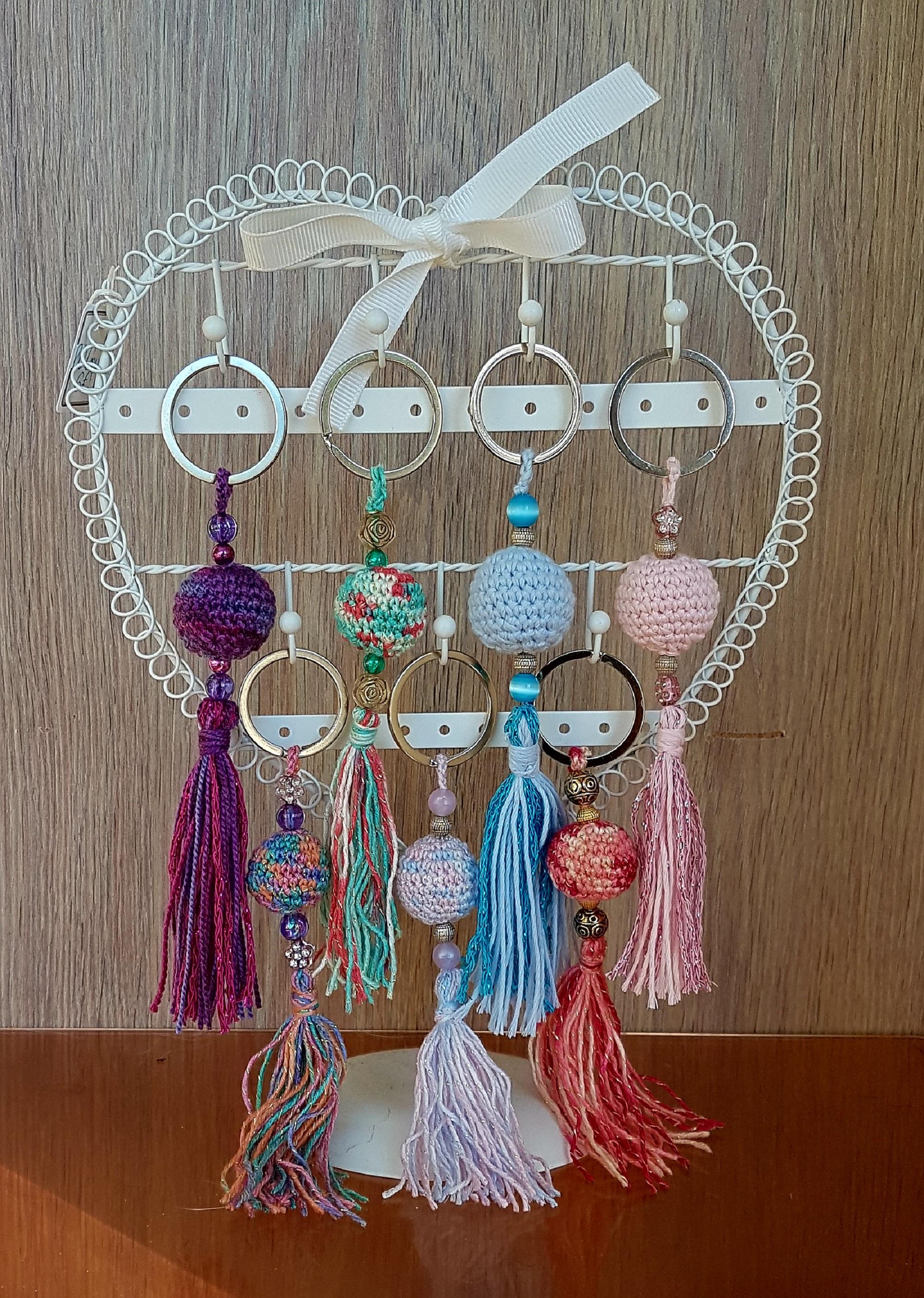 Porte cl s boule au crochet accessoires femme par lejardinsecretdangele - Porte cle crochet ...
