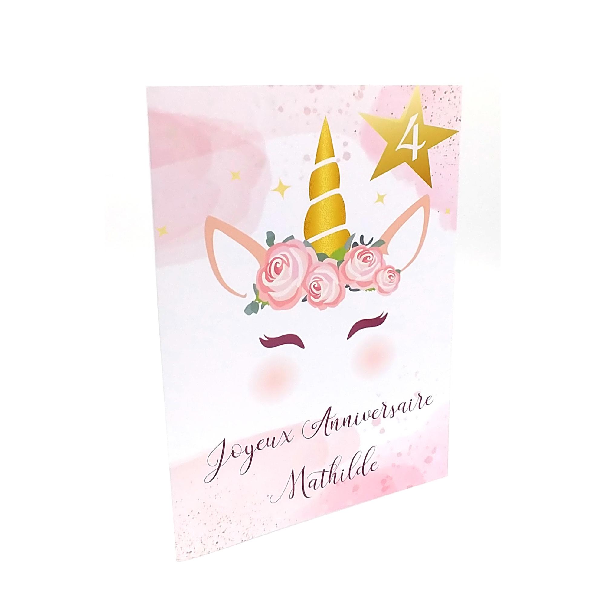 Carte Anniversaire Licorne Fille A Personnaliser Prenom Et Age Papier Finition Glace Brillant Avec Enveloppe Offerte Enfants Anniversaires Par Mimicarte