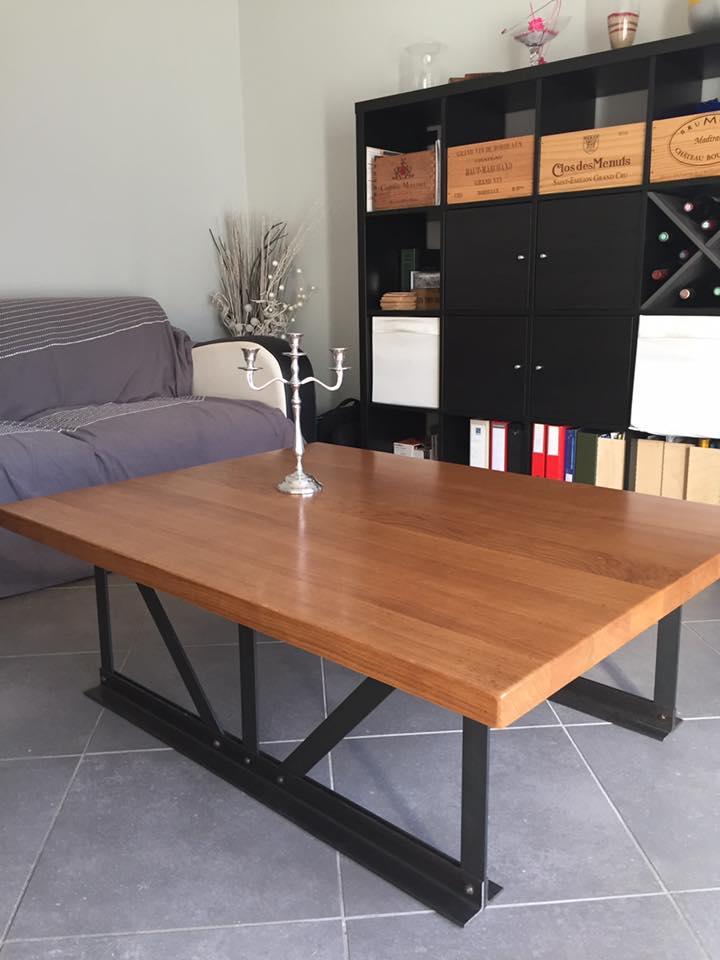 table basse bois et acier meubles par angecreata. Black Bedroom Furniture Sets. Home Design Ideas