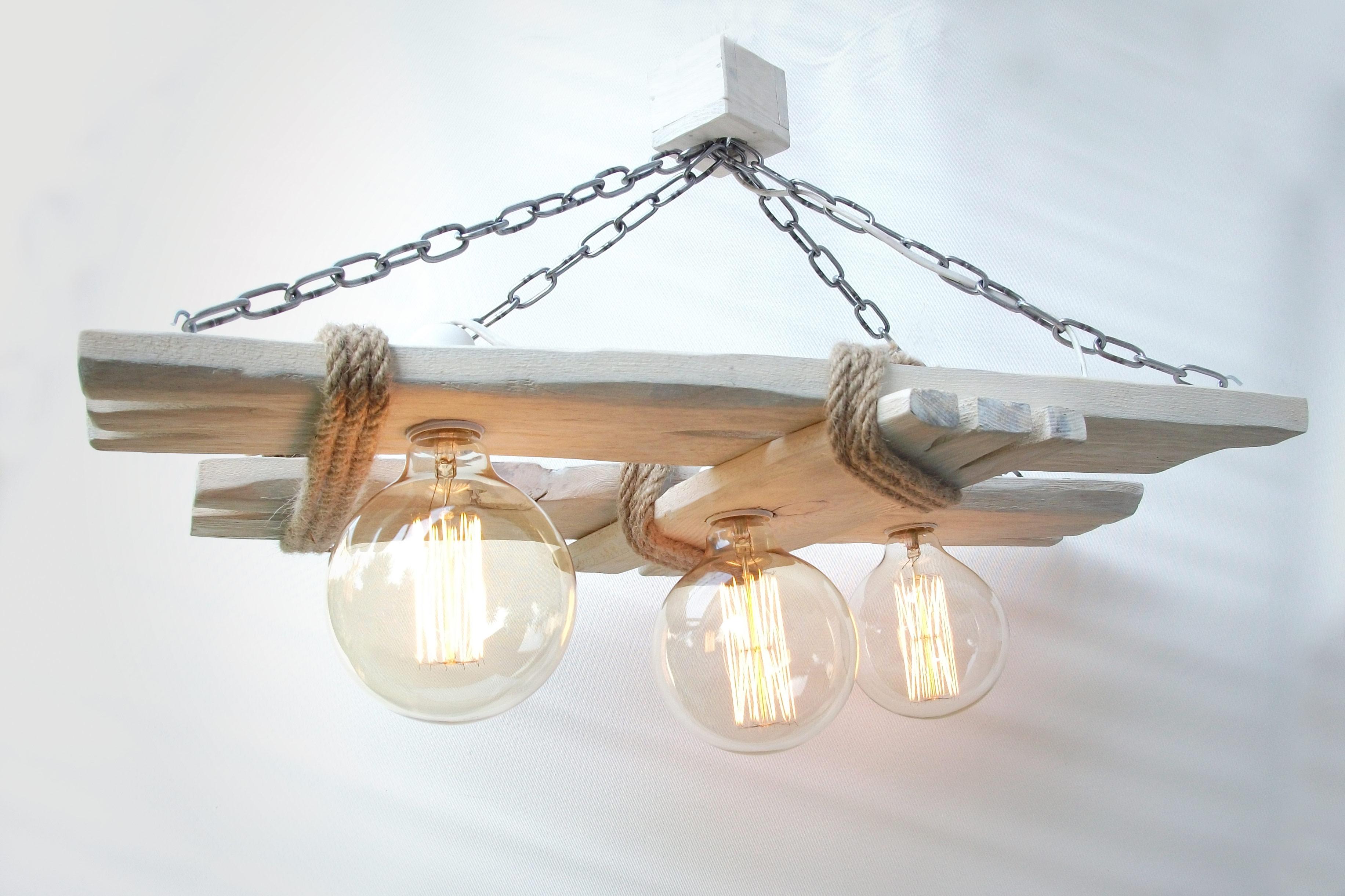 plafonnier en bois vieilli lustre rustique lumi re en bois ampoules edison luminaires par. Black Bedroom Furniture Sets. Home Design Ideas