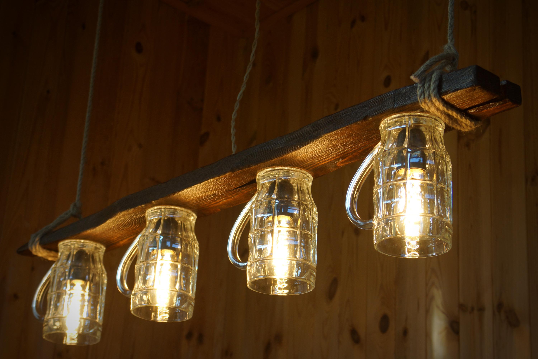 lampe en verre bi re en bois vieilli lustre en bois. Black Bedroom Furniture Sets. Home Design Ideas