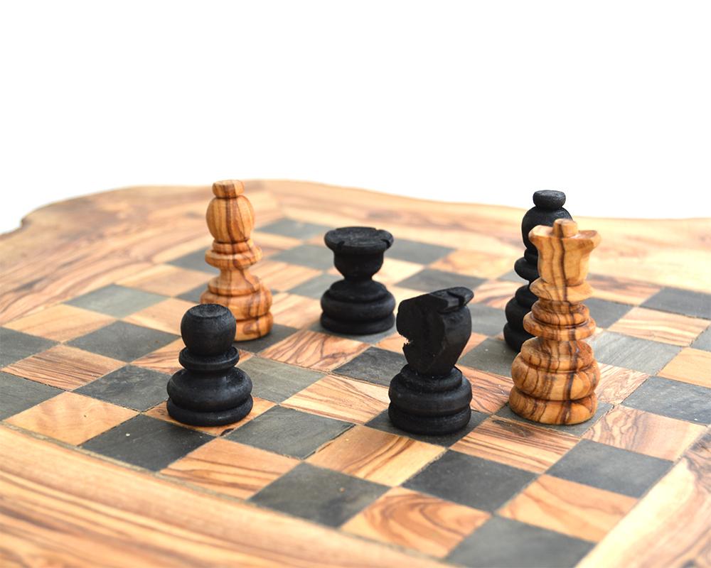 Jeux Rangement De La Maison jeux d'échecs s en bois d'olivier sur pieds avec tiroirs de rangement