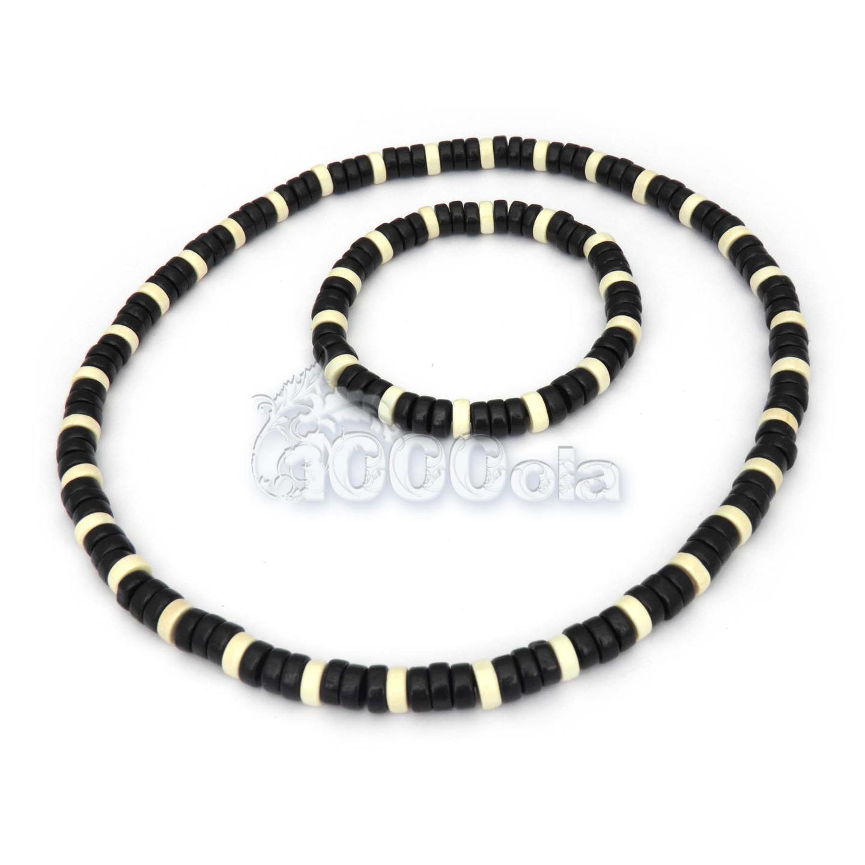 collier homme noir et blanc
